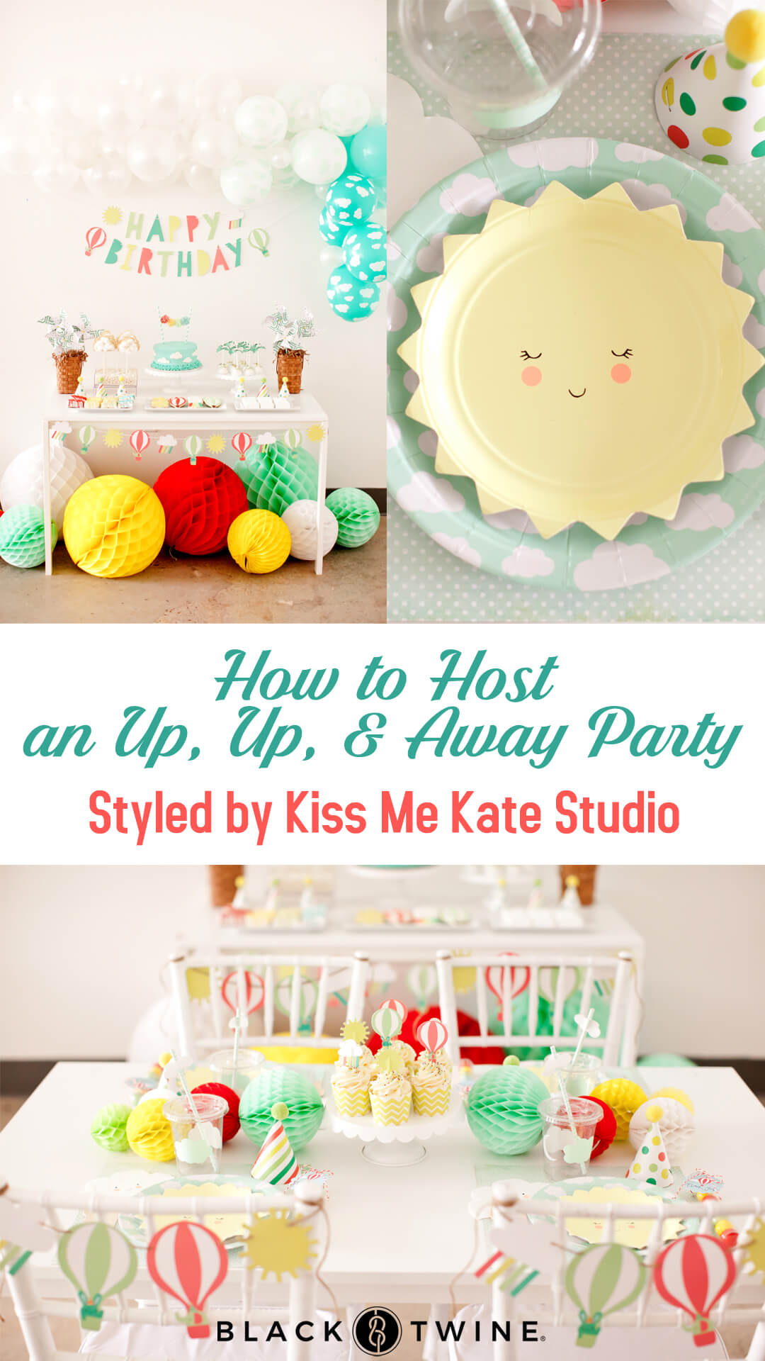 Tablescape, Place Setting from Up, Up, & Away Party Styled by Kiss Me Kate Studio | Black Twine