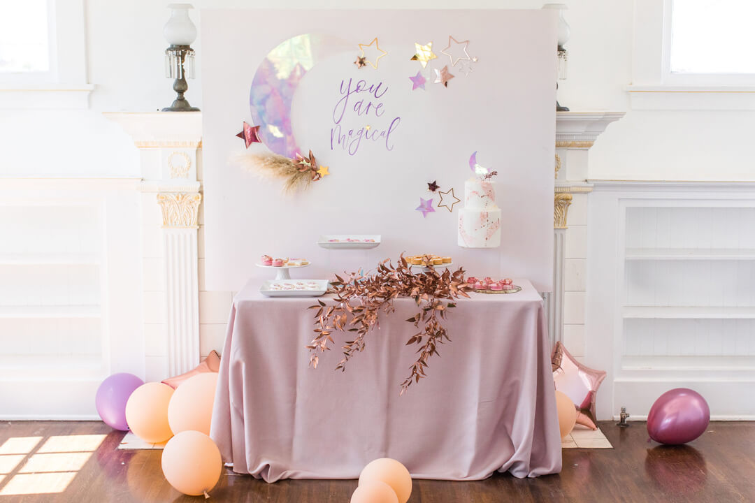 Dessert Table from Celestial Birthday Party Styled by Golden Arrow Events & Design | Black Twine