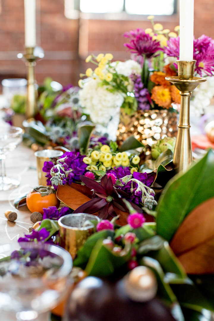 Floral Arrangement from Boho Chic Friendsgiving Party Styled by Sarah Sofia Productions | Black Twine