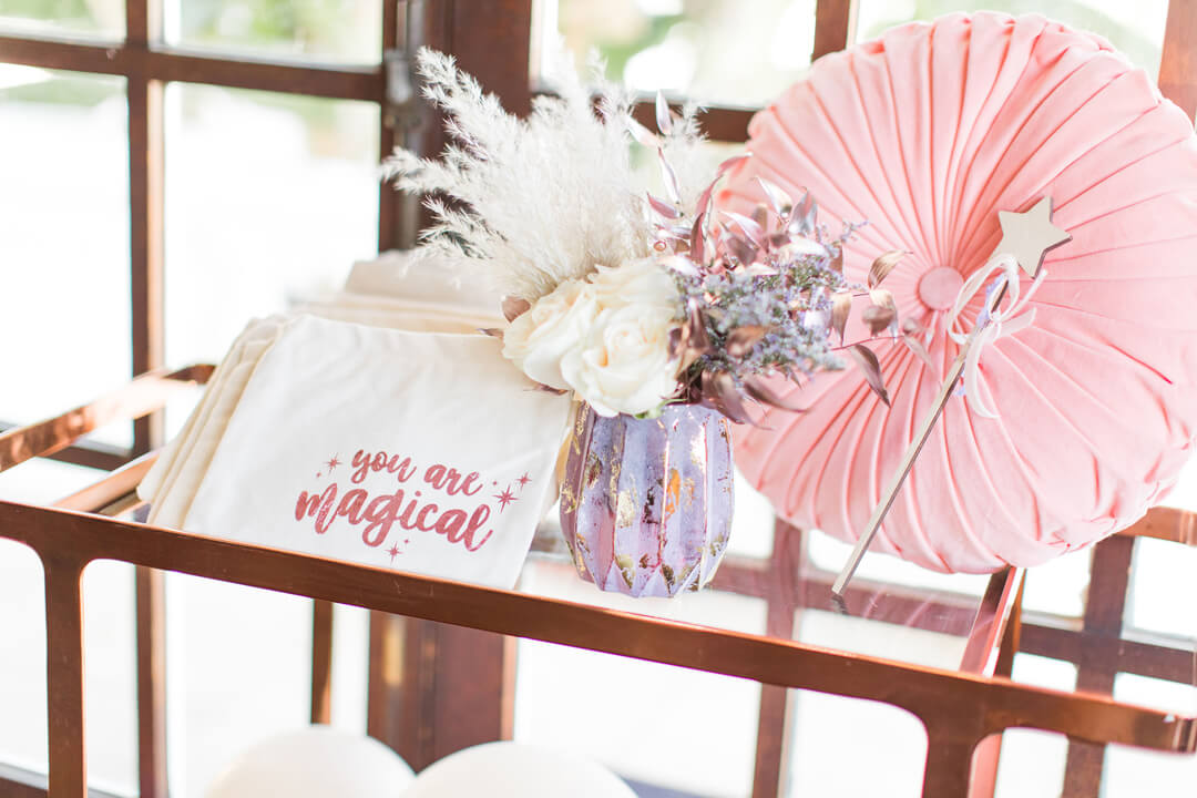 Favor Bags from Celestial Birthday Party Styled by Golden Arrow Events & Design | Black Twine