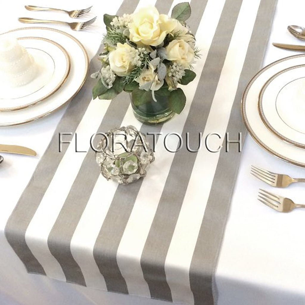 White and Gray Stripe Table Runner - Flora Touch