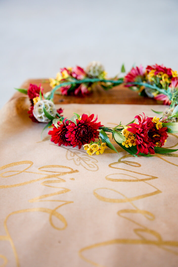 Flower Crown from Boho Chic Friendsgiving Party Styled by Sarah Sofia Productions | Black Twine