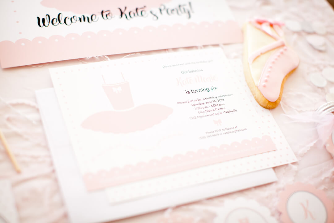 Invitation from Ballet Party Styled by Kiss Me Kate Studio | Black Twine