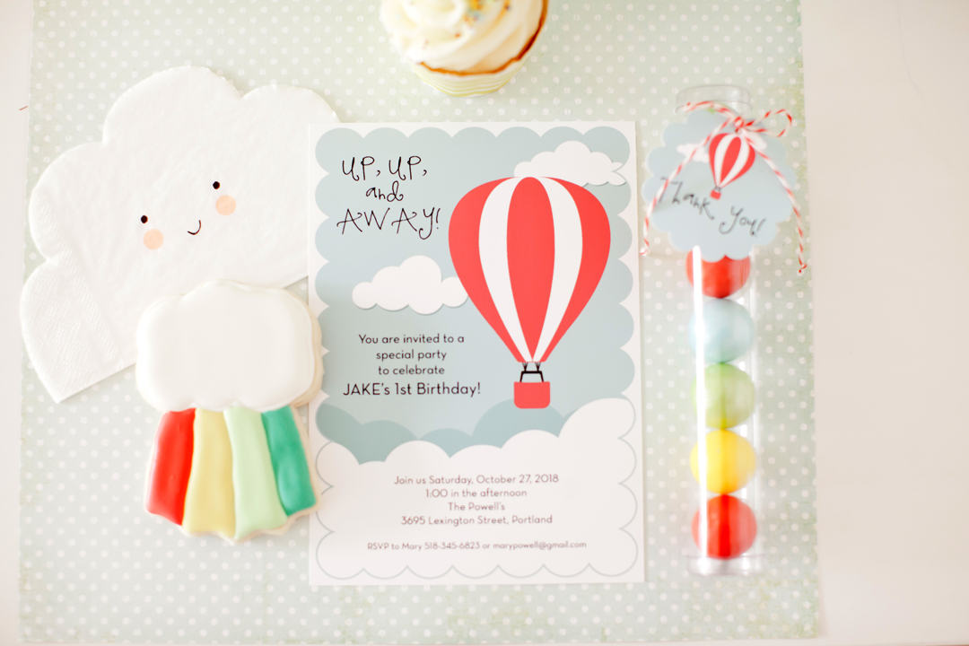 Invitation from Up, Up, & Away Party Styled by Kiss Me Kate Studio | Black Twine