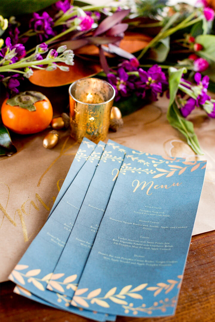 Menu Cards from Boho Chic Friendsgiving Party Styled by Sarah Sofia Productions | Black Twine