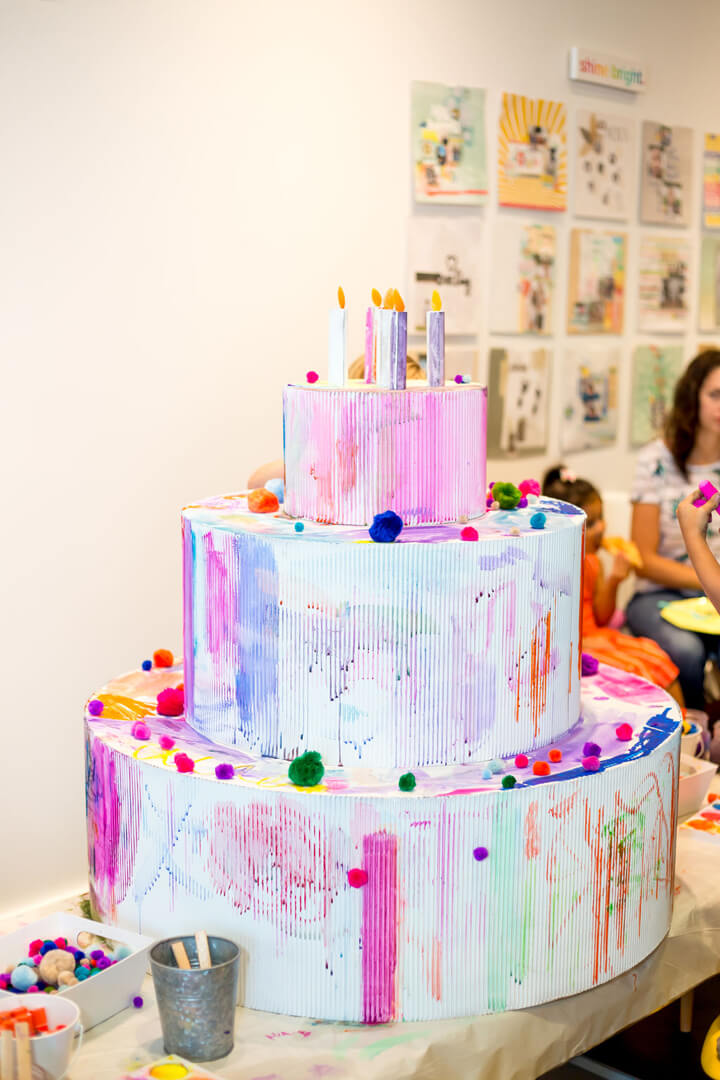 Painted Cardboard Cake from Modern Art Gallery Party In Collaboration with Amy Tangerine | Black Twine