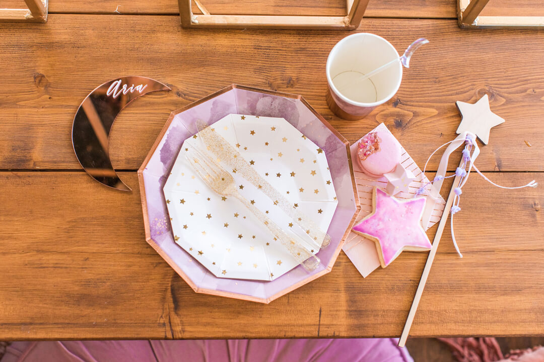 Place Setting from Celestial Birthday Party Styled by Golden Arrow Events & Design | Black Twine