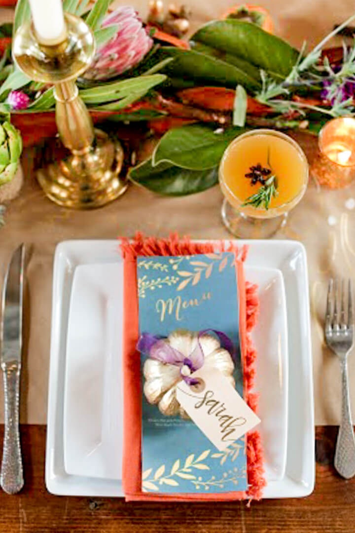 Place Setting from Boho Chic Friendsgiving Party Styled by Sarah Sofia Productions | Black Twine
