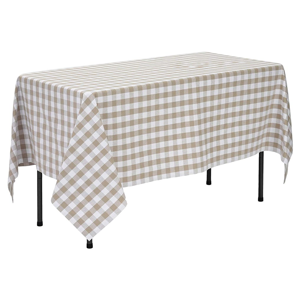 Tan & White Gingham Tablecloth