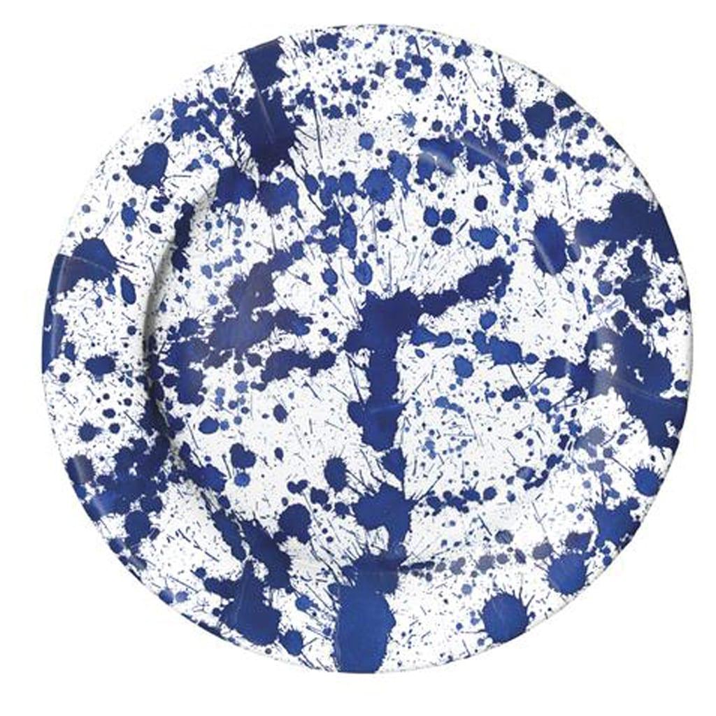 Blue Paint Splatter Plates - Geese & Ganders
