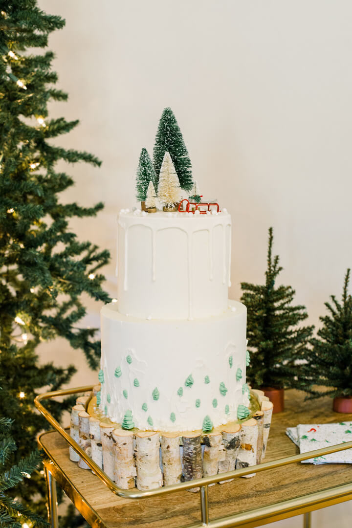 "Cake from ""Apres at The Lodge"" Holiday Party Styled by The Revelry Co 