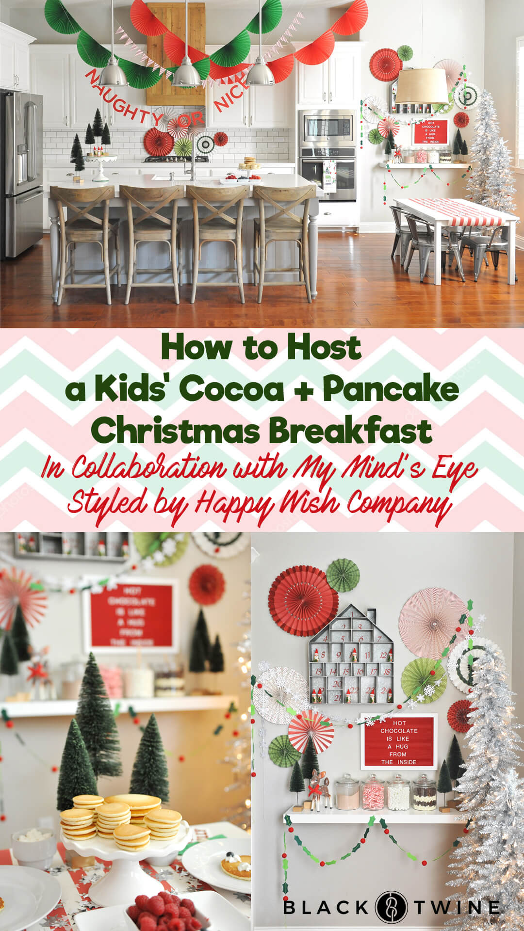 Tablescape from Kids' Cocoa + Pancake Christmas Breakfast Styled by Happy Wish Company | Black Twine