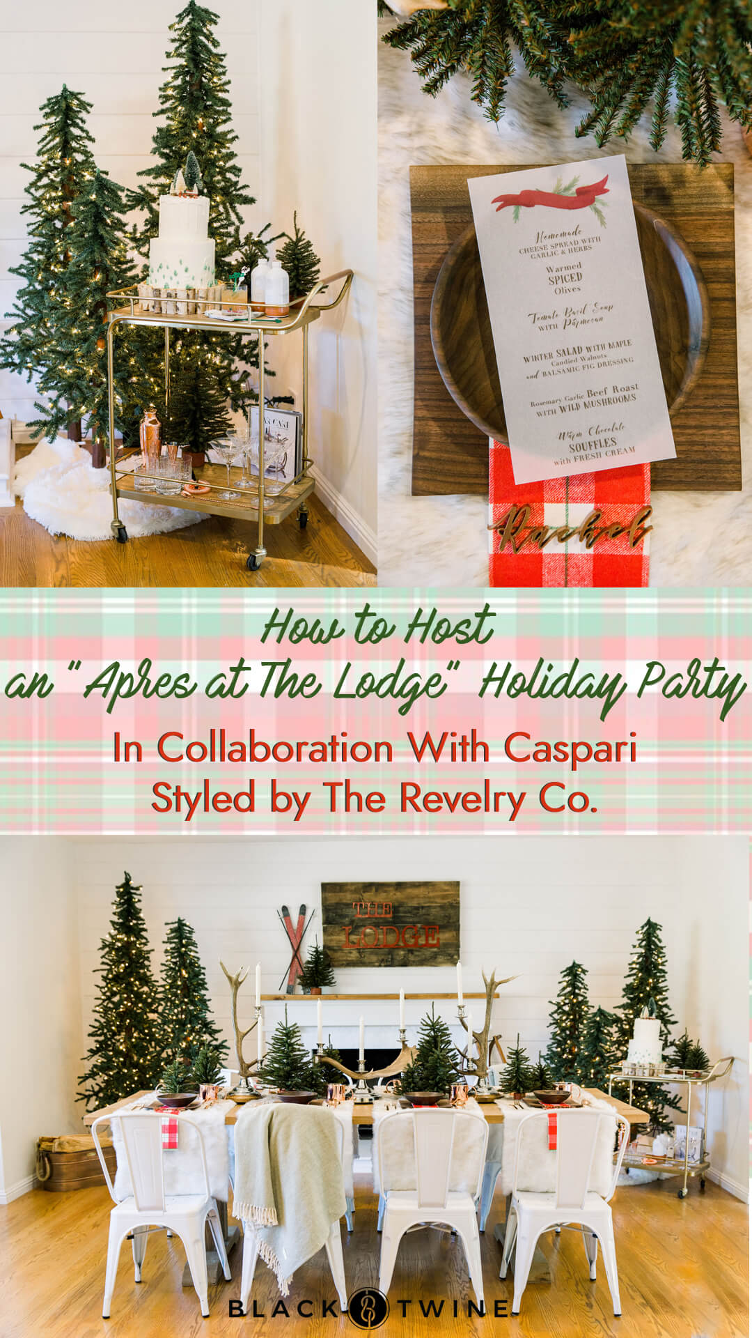 "Tablescape, Place Setting from ""Apres at The Lodge"" Holiday Party Styled by The Revelry Co 