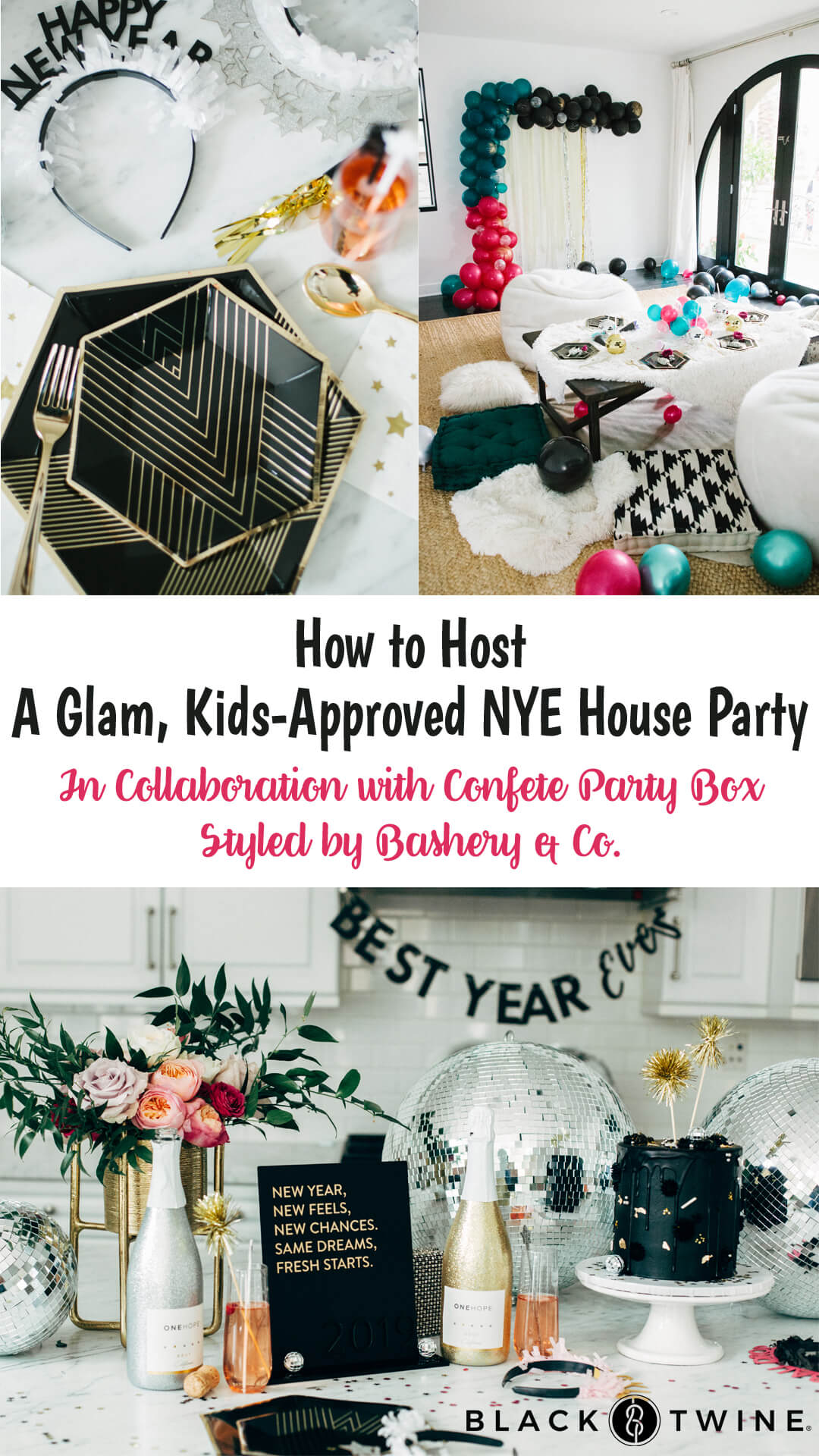 Place Setting and Tablescape from Glam, Kids-Approved NYE House Party In Collaboration with Confete Party Box, Styled by Bashery & Co. | Black Twine