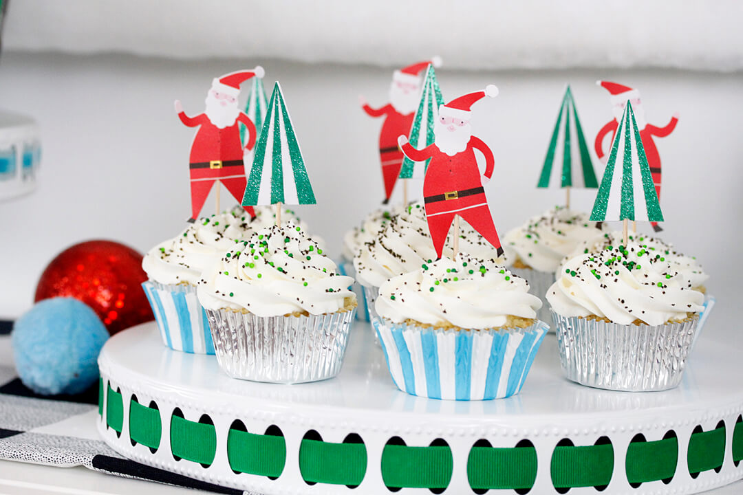 """Cupcakes with Santa Claus Topper from """"Dear Santa"""" Party Styled by A Lovely Design 