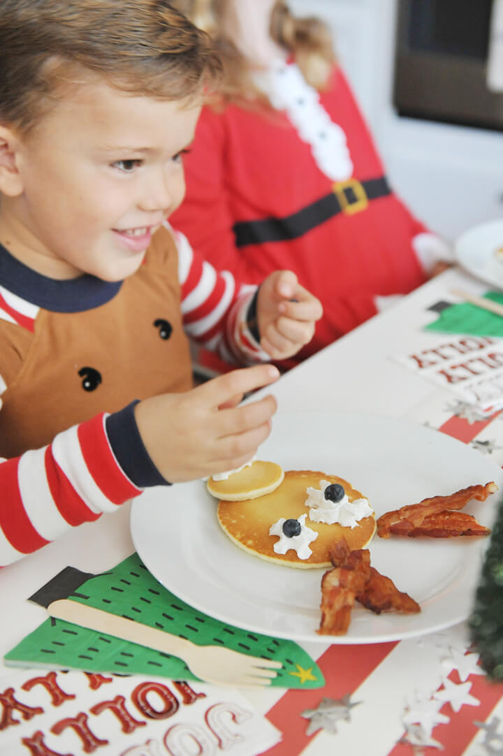 Kid + Deer Pancake from Kids' Cocoa + Pancake Christmas Breakfast Styled by Happy Wish Company | Black Twine
