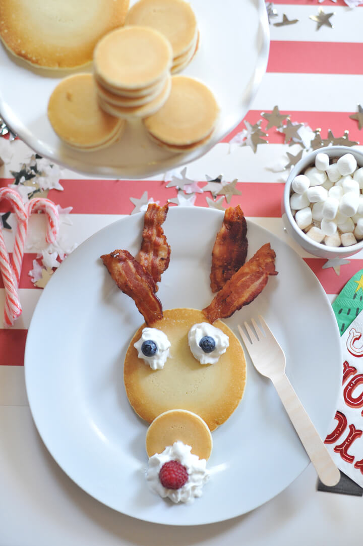 Place Setting from Kids' Cocoa + Pancake Christmas Breakfast Styled by Happy Wish Company | Black Twine