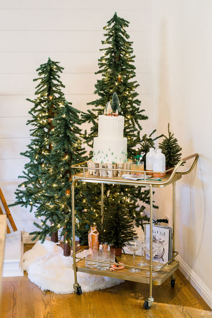 "Cake Gold Cart from ""Apres at The Lodge"" Holiday Party Styled by The Revelry Co 
