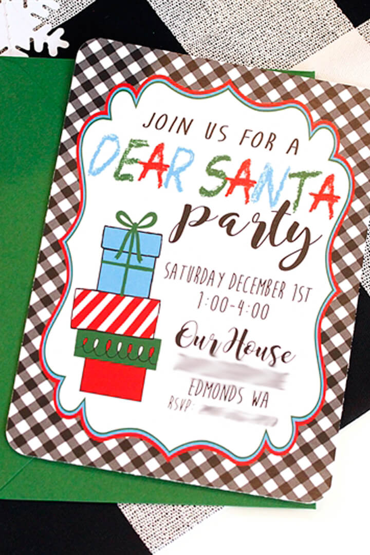 """Invitation from """"Dear Santa"""" Party Styled by A Lovely Design 