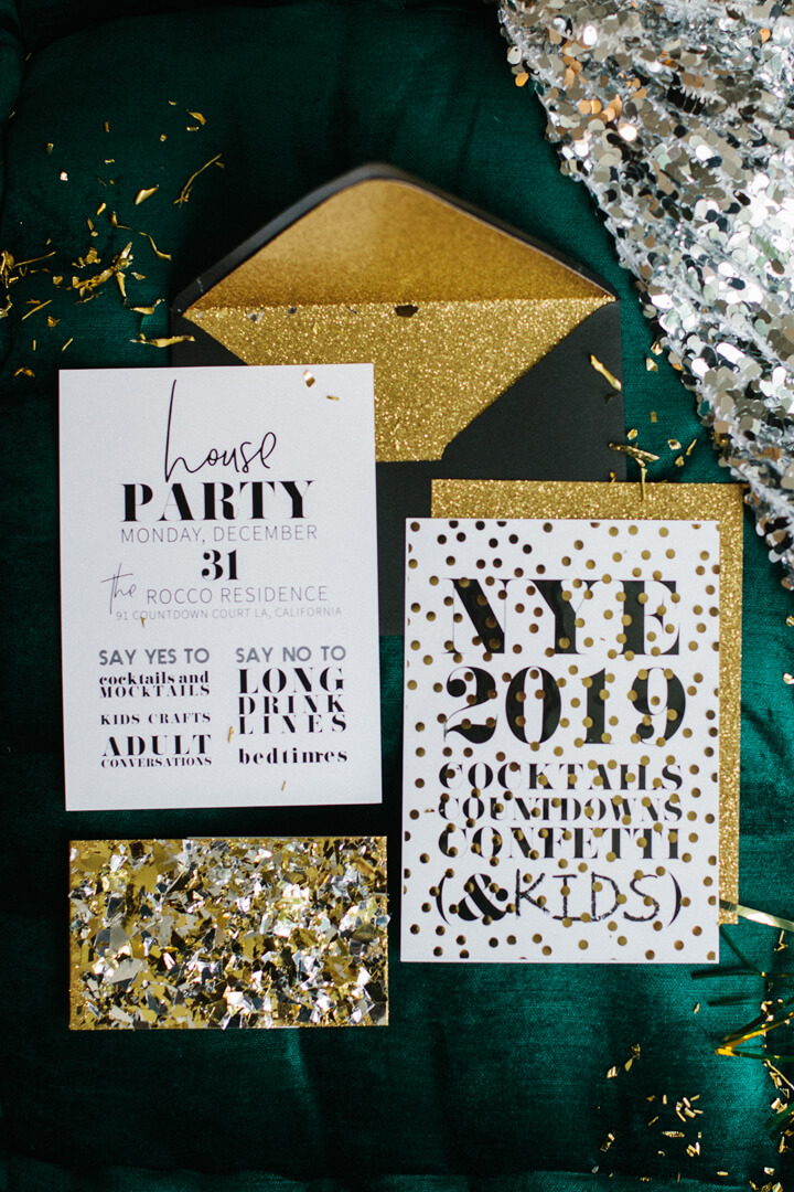 Invitations from Glam, Kids-Approved NYE House Party In Collaboration with Confete Party Box, Styled by Bashery & Co. | Black Twine
