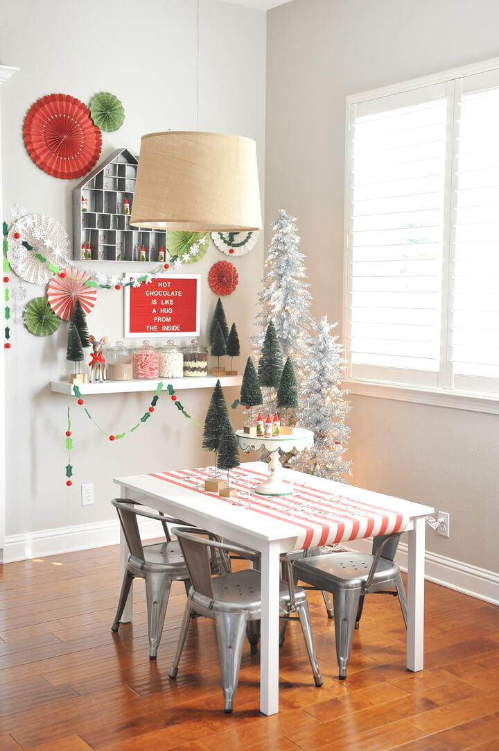 Kids' Tablescape from Kids' Cocoa + Pancake Christmas Breakfast Styled by Happy Wish Company | Black Twine