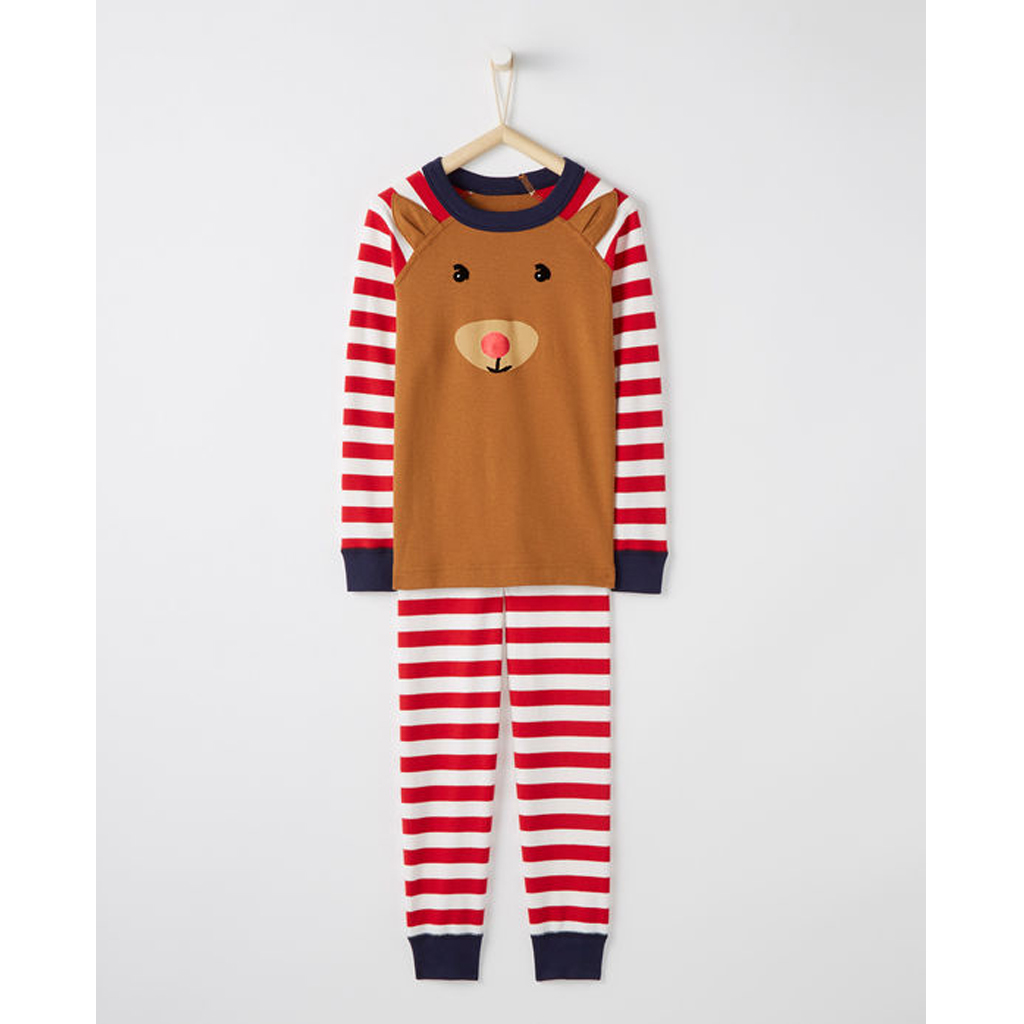 Long John Pajamas In Organic Cotton - Holiday Deer from Hanna Andersson