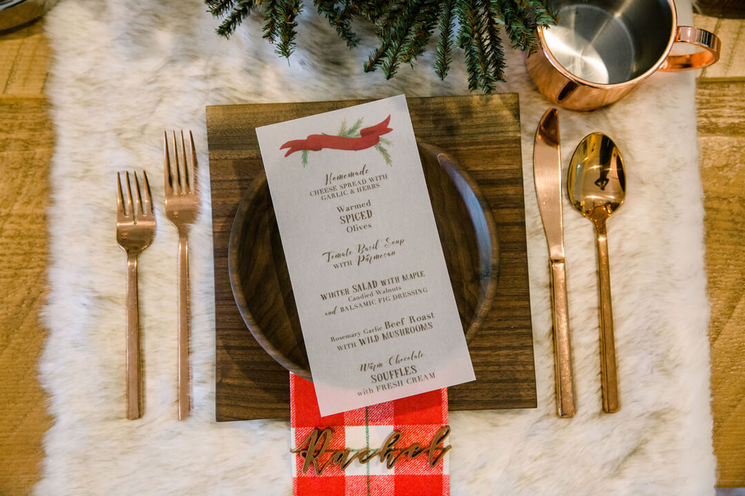 "Place Setting from ""Apres at The Lodge"" Holiday Party Styled by The Revelry Co 