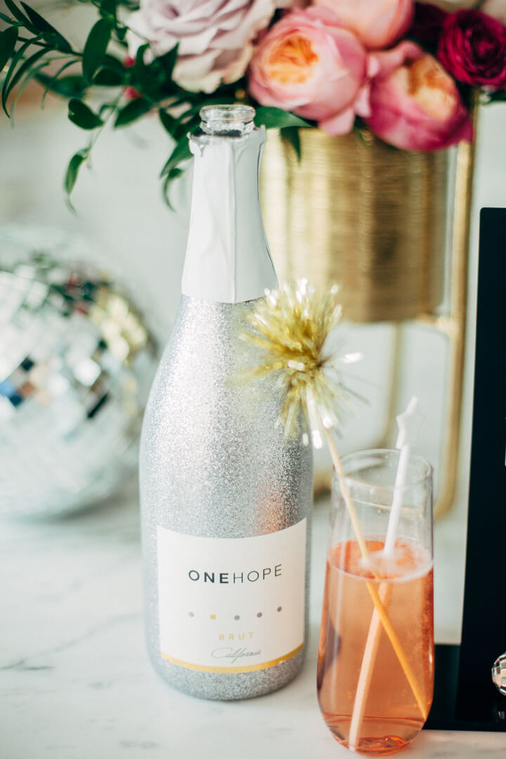 One Hope Brut from Glam, Kids-Approved NYE House Party In Collaboration with Confete Party Box, Styled by Bashery & Co. | Black Twine