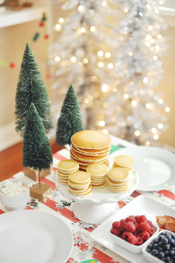 Pancakes and Bottle Brush Trees from Kids' Cocoa + Pancake Christmas Breakfast Styled by Happy Wish Company | Black Twine
