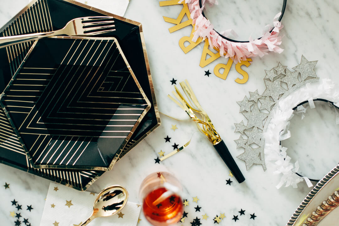Place Setting from Glam, Kids-Approved NYE House Party In Collaboration with Confete Party Box, Styled by Bashery & Co. | Black Twine