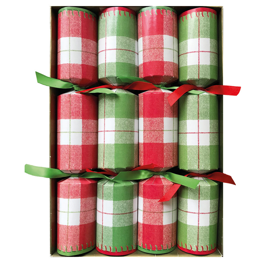 Plaid Check Celebration Christmas Crackers in White from Caspari
