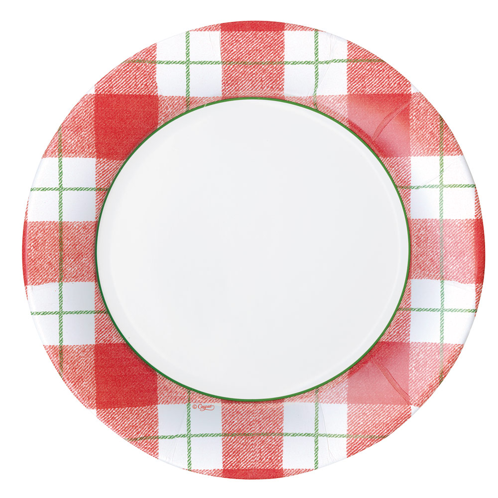 Plaid Check Paper Dinner Plates in Red from Caspari