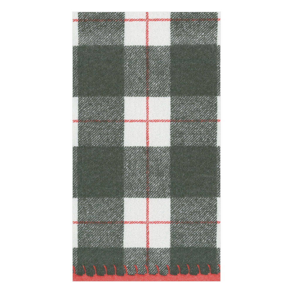 Plaid Check Paper Linen Guest Towel Napkins in Black from Caspari