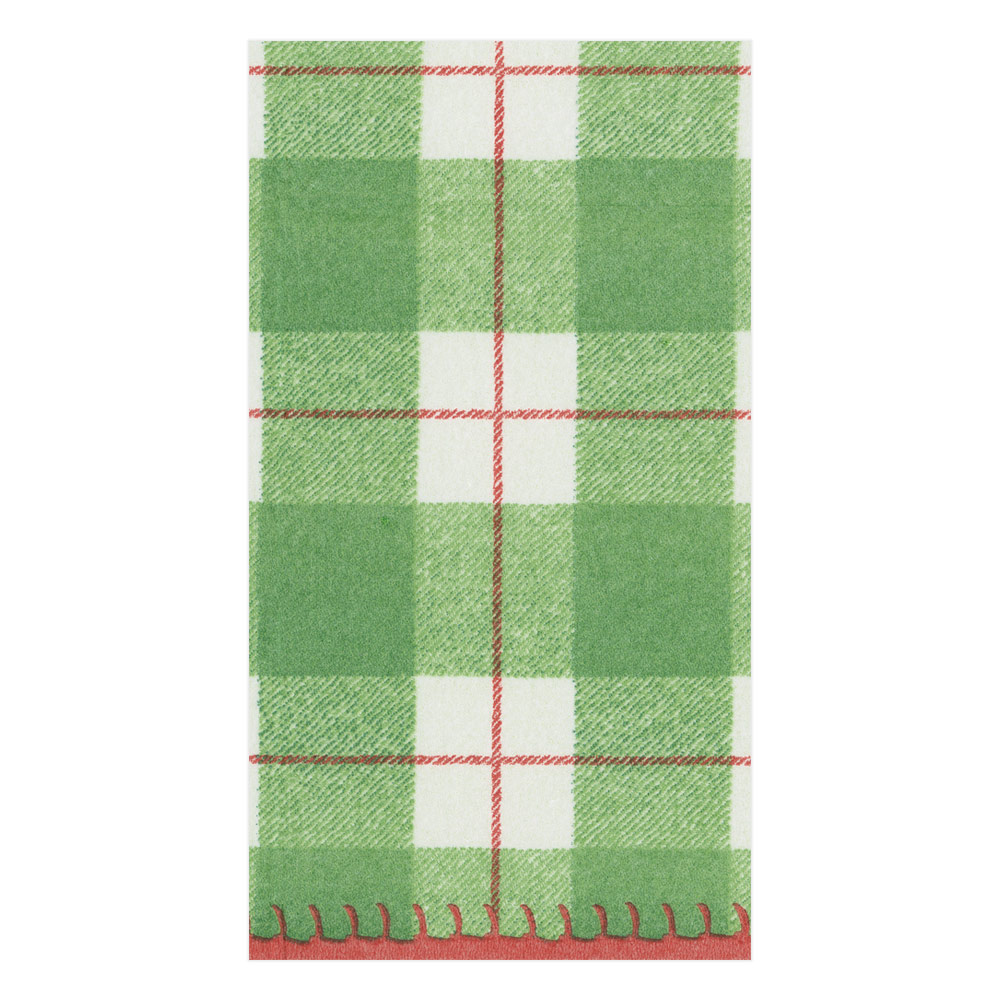 Plaid Check Paper Linen Guest Towel Napkins in Green from Caspari