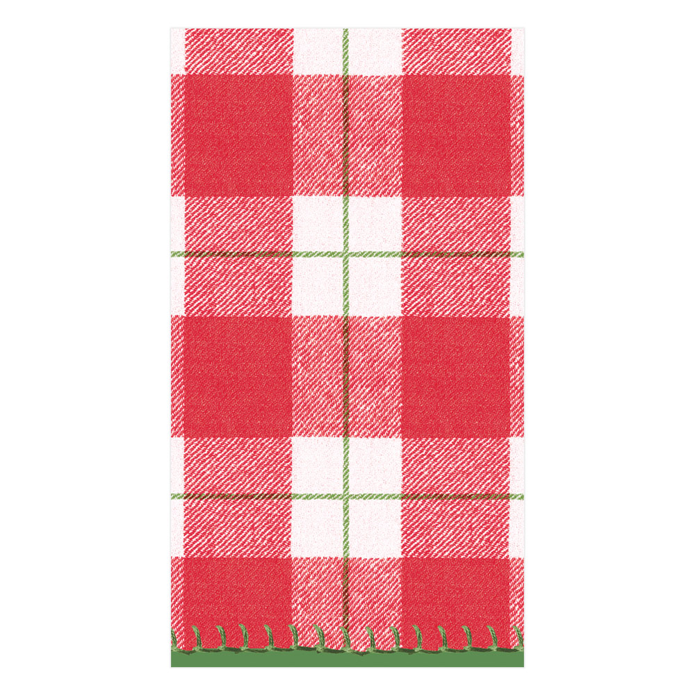 Plaid Check Paper Linen Guest Towel Napkins in Red from Caspari