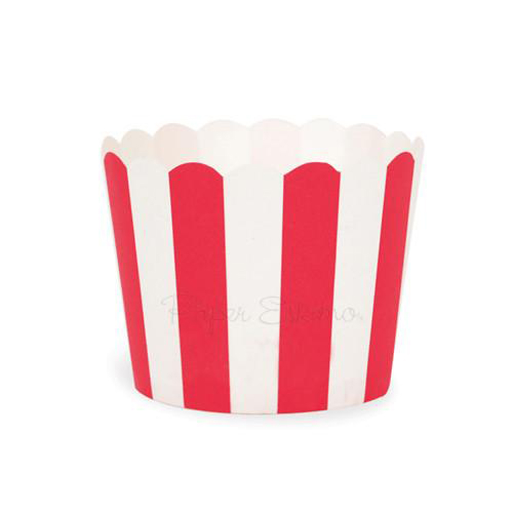 Red Stripe Baking Cups by Paper Eskimo