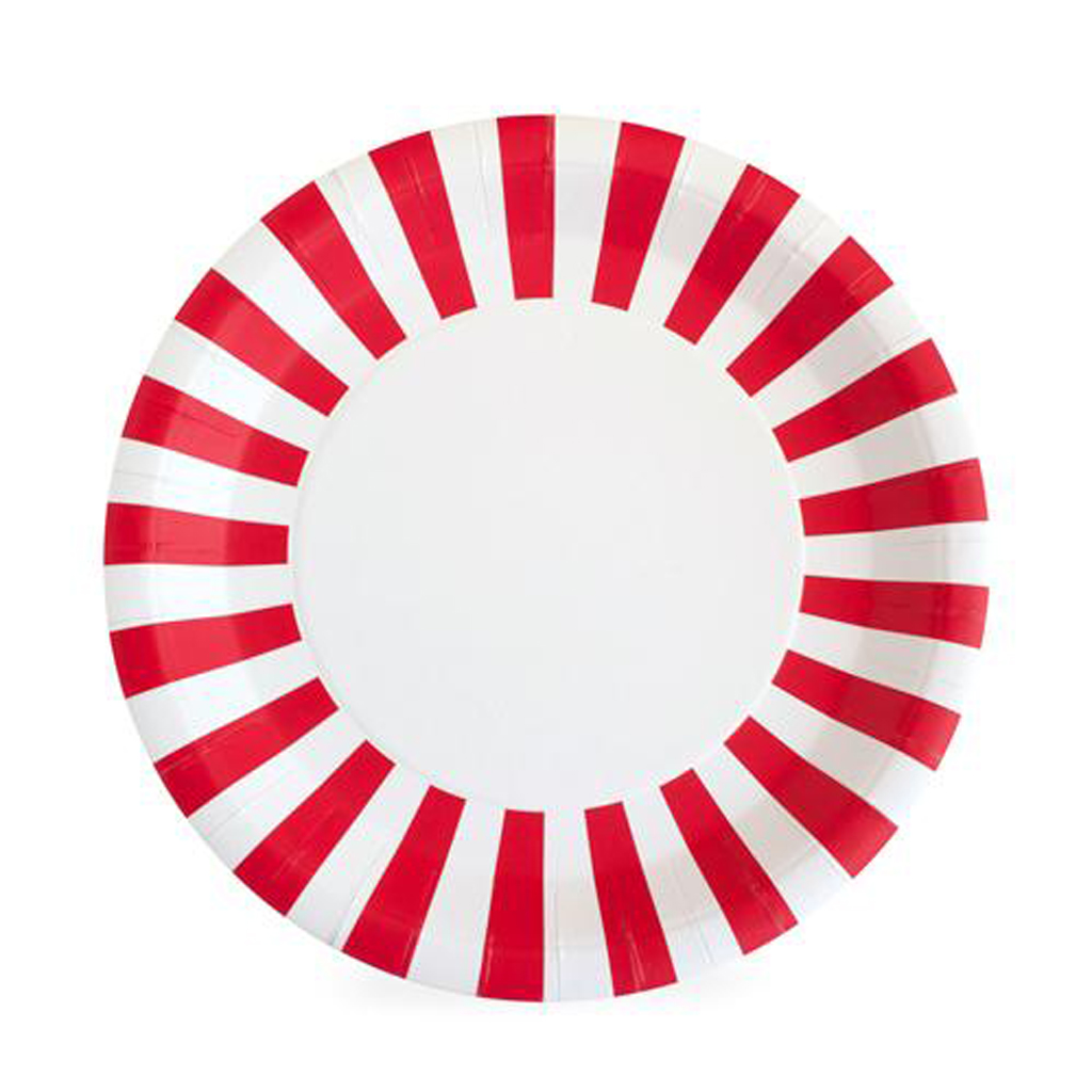 PAPER PLATES CANDY CANE RED by Paper Eskimo