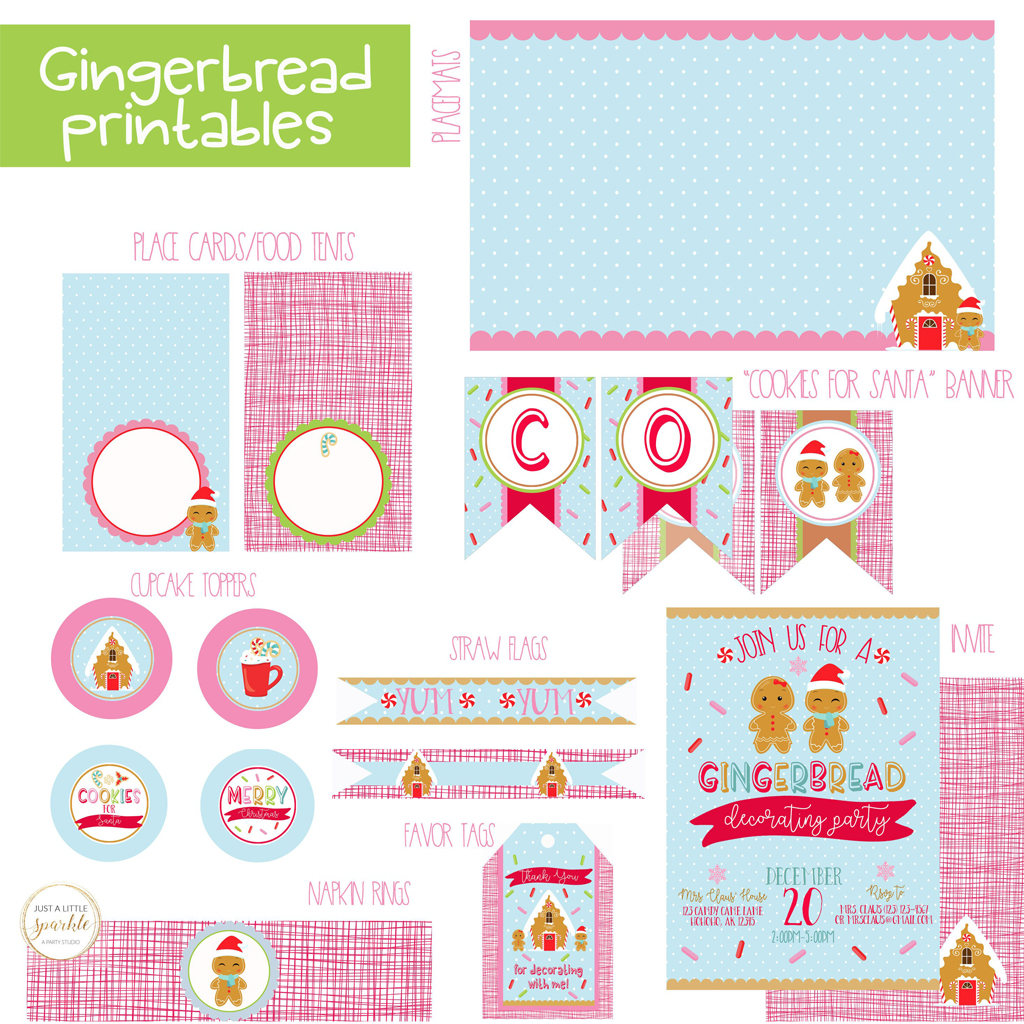 Gingerbread Party Printables by Just A Little Sparkle