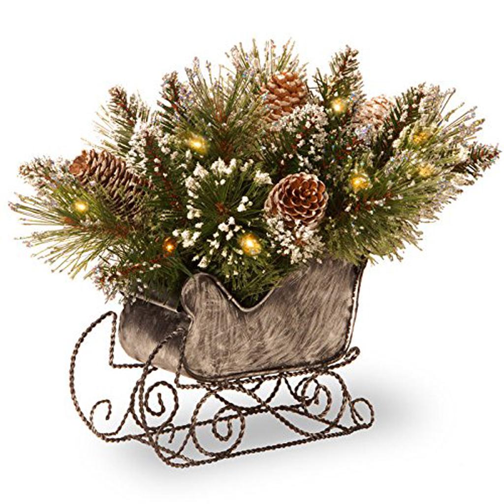 Glittery Bristle Pine Sleigh with White Cones
