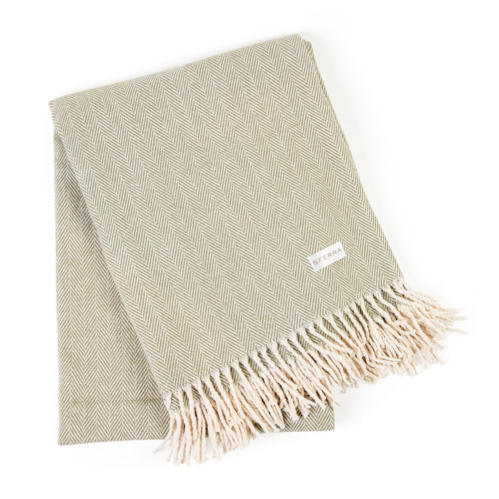 Sferra Celine Herringbone Throw in Moss from Caspari