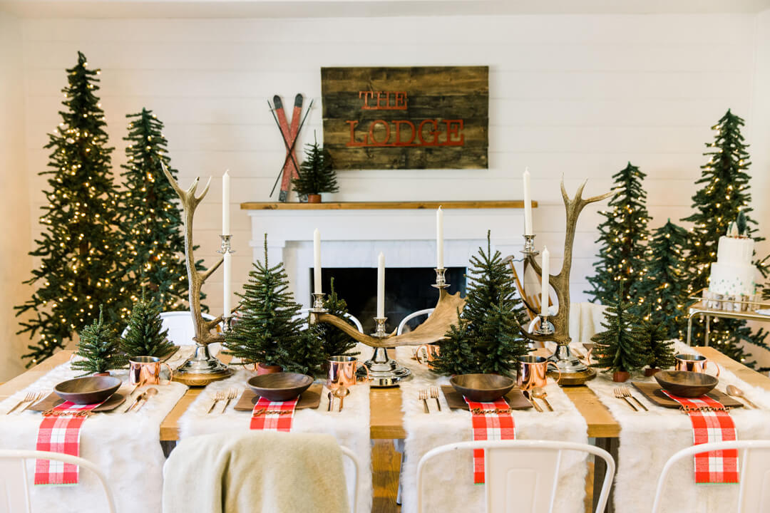 "Tablescape from ""Apres at The Lodge"" Holiday Party Styled by The Revelry Co 