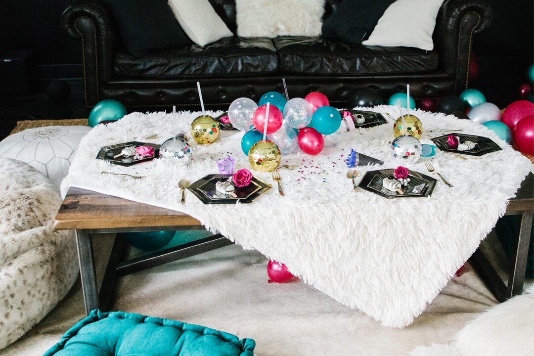 Tablescape from Glam, Kids-Approved NYE House Party In Collaboration with Confete Party Box, Styled by Bashery & Co. | Black Twine