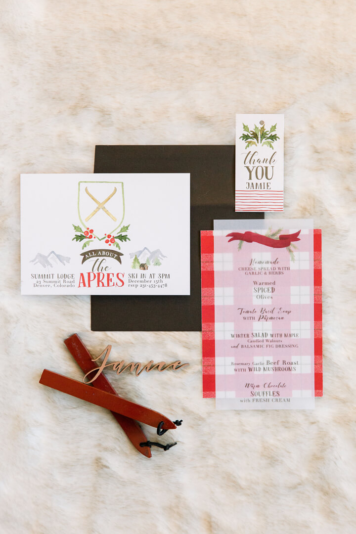 "Menu Card, Invitation and Thank you Tags from ""Apres at The Lodge"" Holiday Party Styled by The Revelry Co 