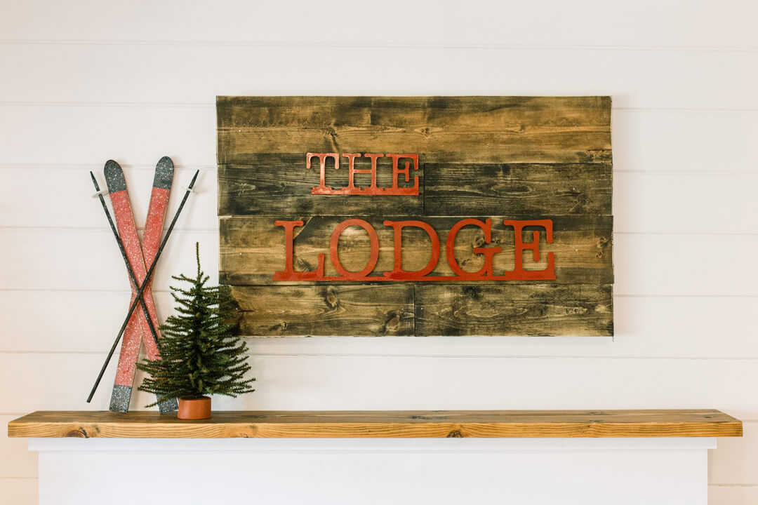 "The Lodge Sign from ""Apres at The Lodge"" Holiday Party Styled by The Revelry Co 
