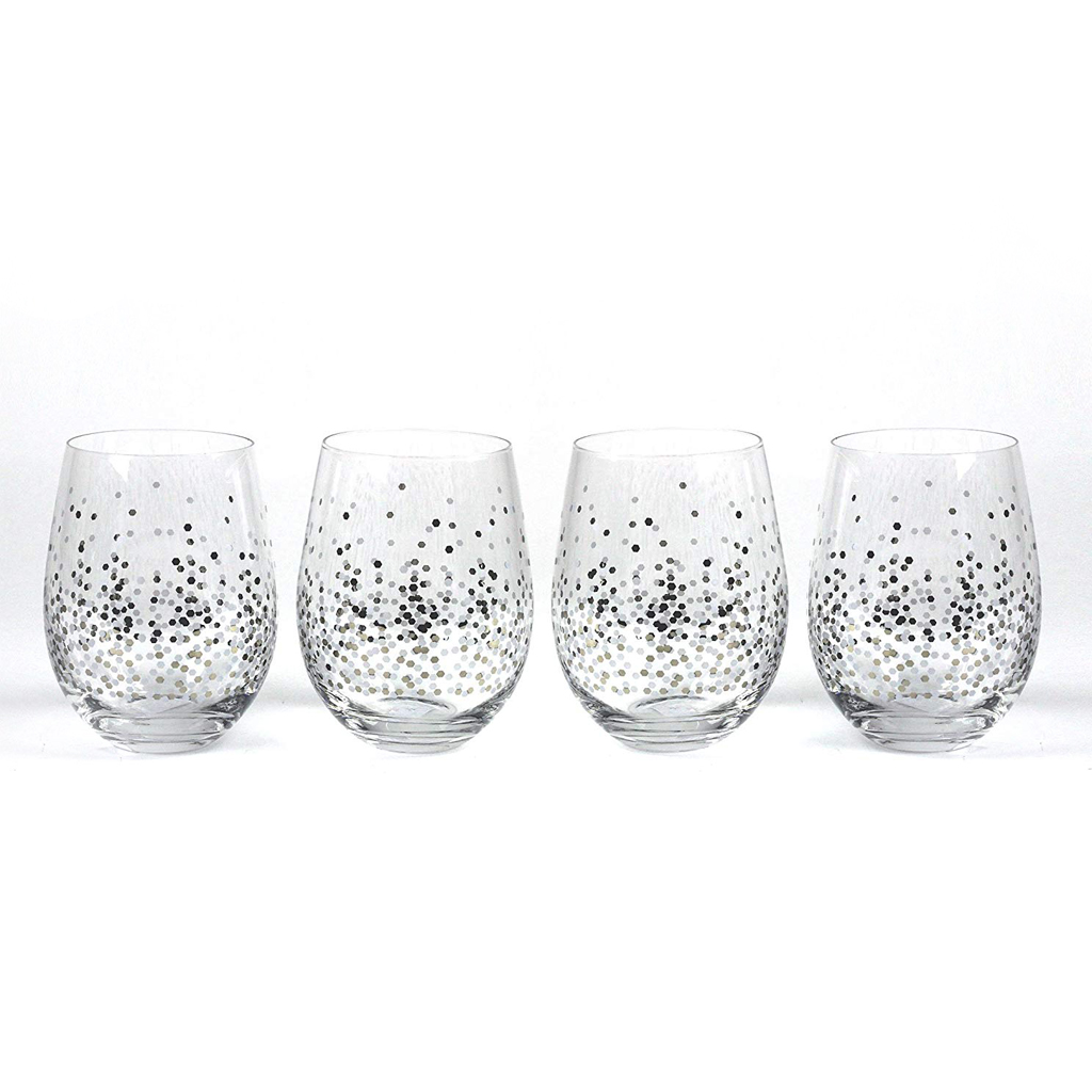 Confetti Stemless Wine Glasses