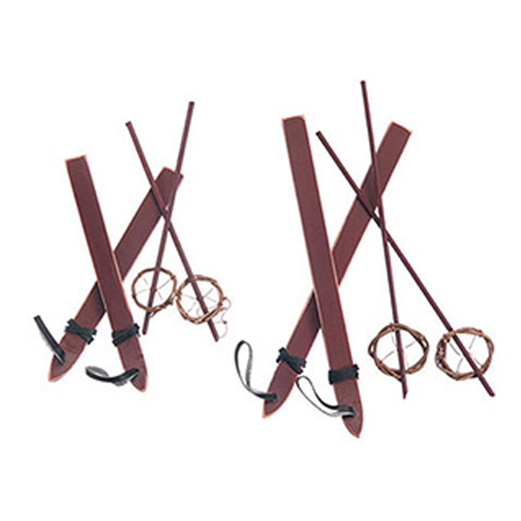 Wood Ski Set with Poles from Consumer Crafts