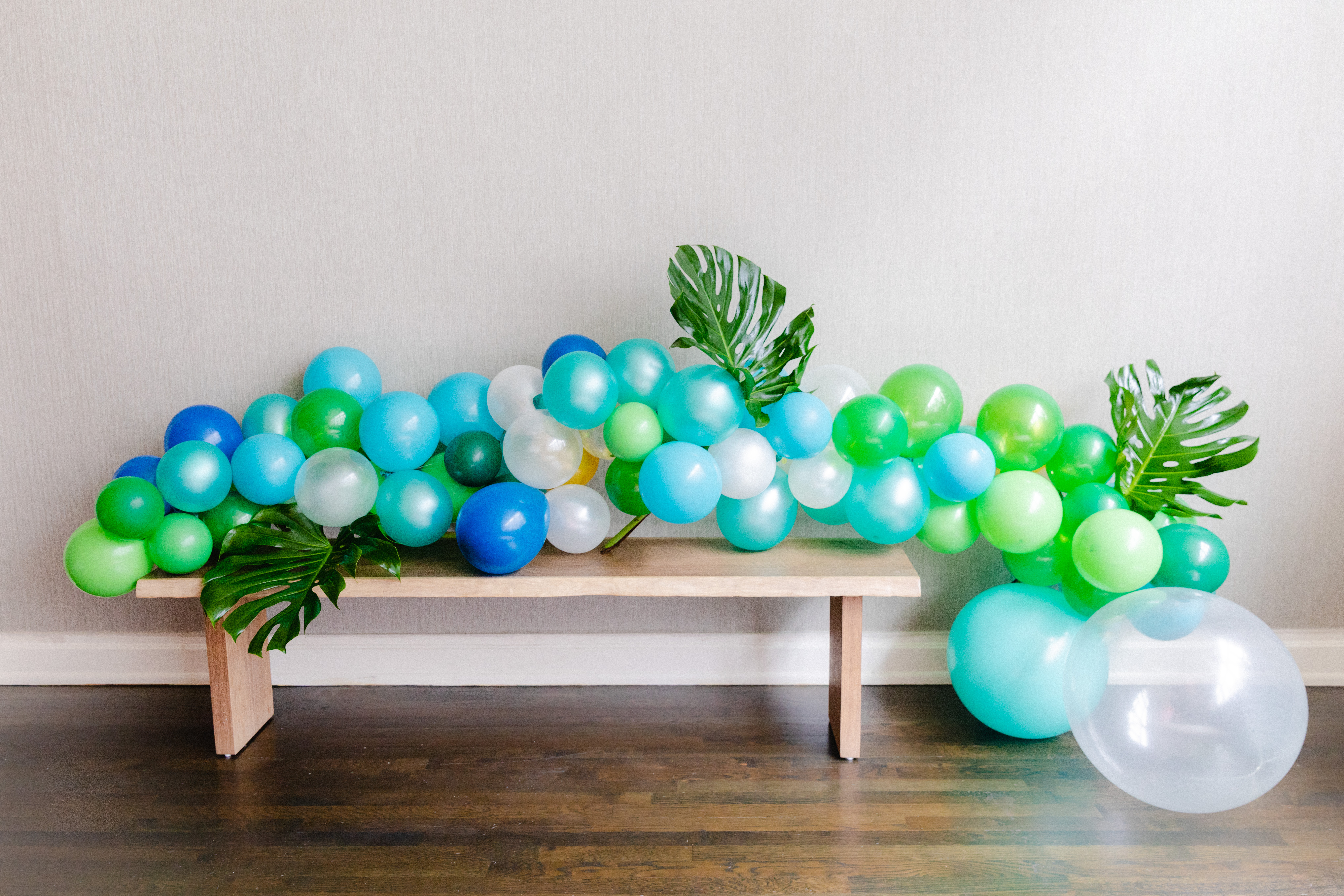 Blue Green Balloon Garland Leaves Blacktwine Black Twine