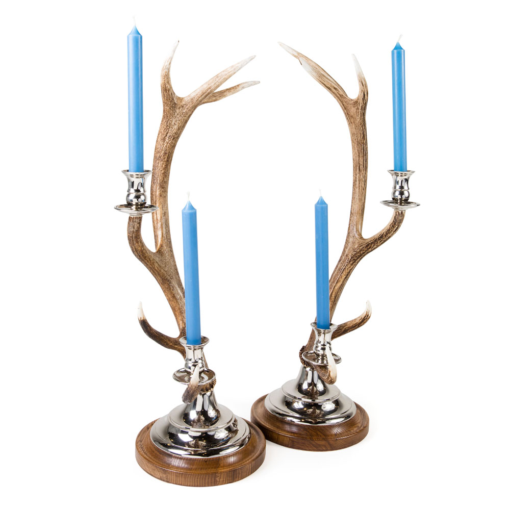 Fallow Antler Silver Plated Candle Stick from Caspari