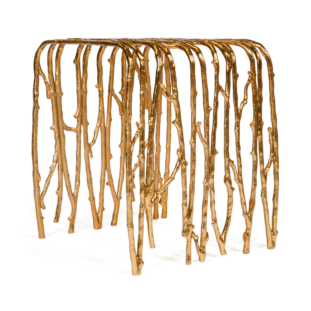Gold Twig Log Holder & Side Table from Caspari