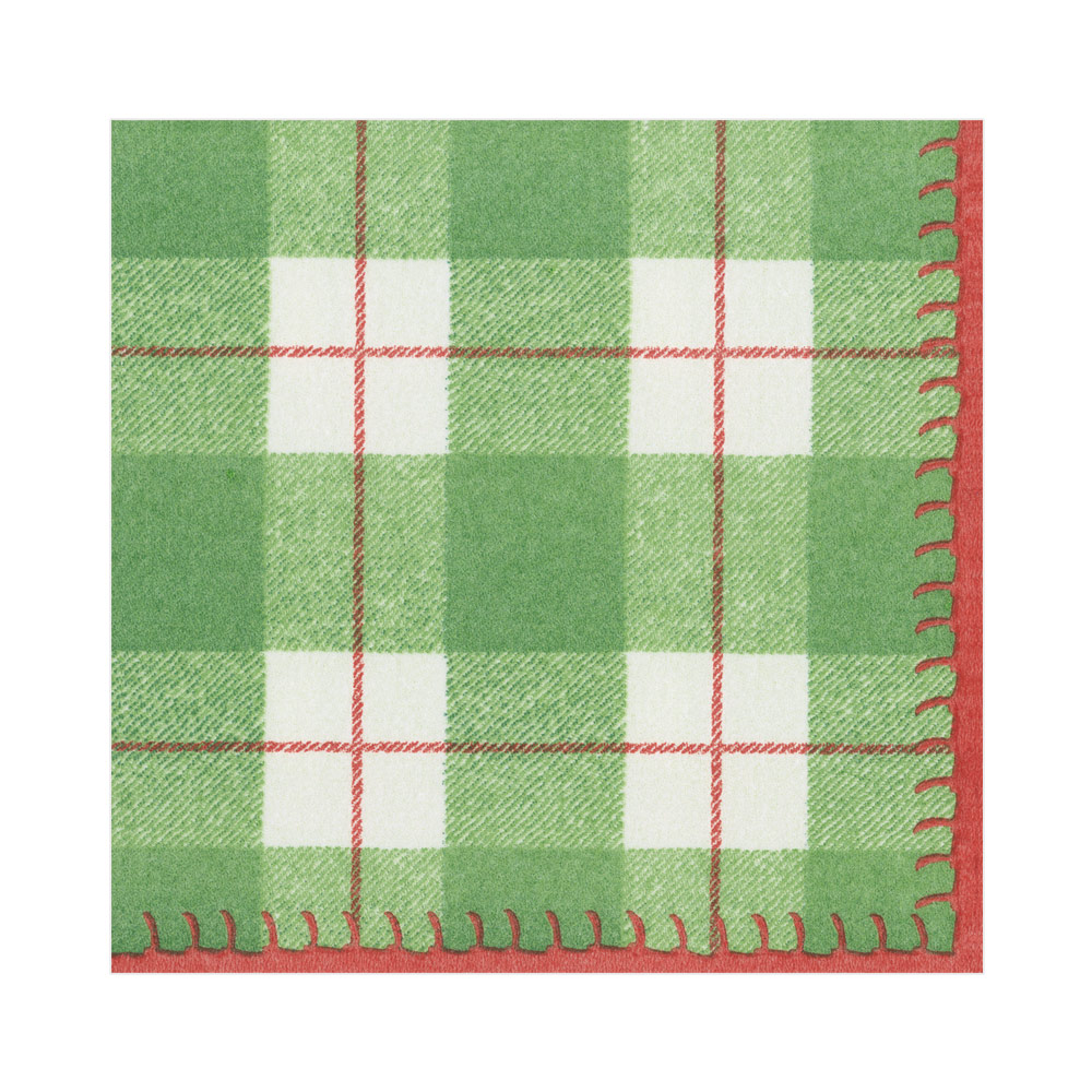 Paper Linen Cocktail Napkins in Green from Caspari